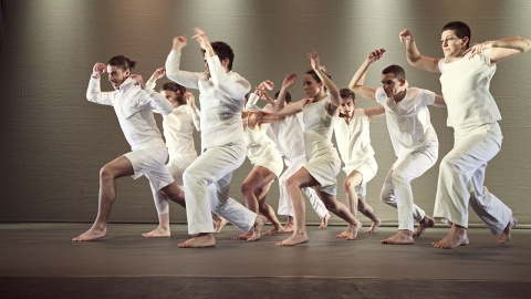 A full colour image showing the all the EDge dancers on stage in a group, facing the same direction with knees bent and arms raised amove their heads. Image by Ivar Sviestins
