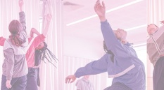 composite image of three dancers in sportswear with a rose tint